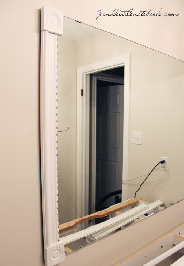 How To Frame Out That Builder\'s Grade Mirror...the easy way! - Pink ...