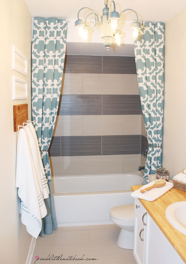 How I Extended My 72 Shower Curtain To 96 Without Sewing Pink Little Notebookpink Little