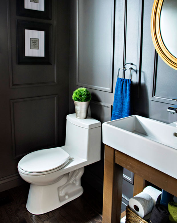 Reveal Dated Powder Room Gets A Moody Makeover Pink Little Notebookpink Notebook