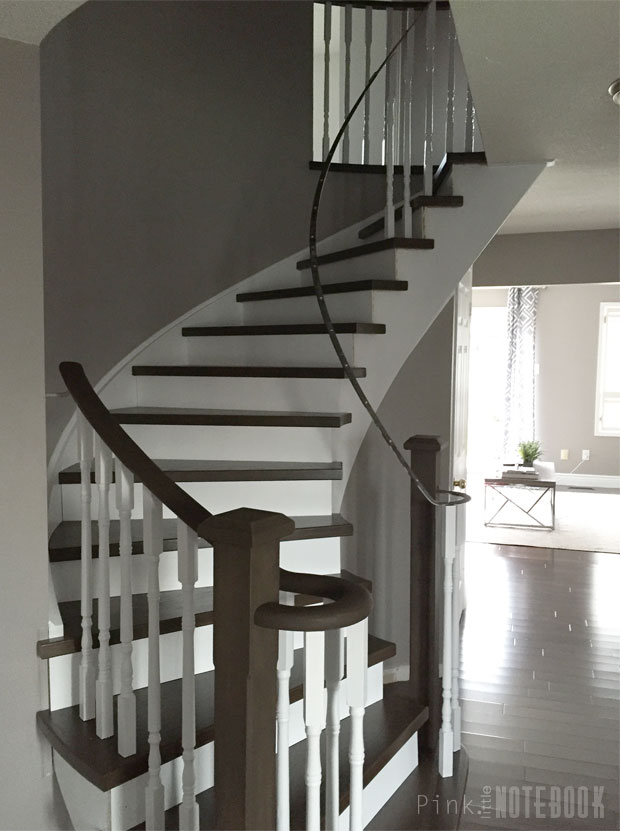Curved staircase remodel before after pink little for Arched staircase