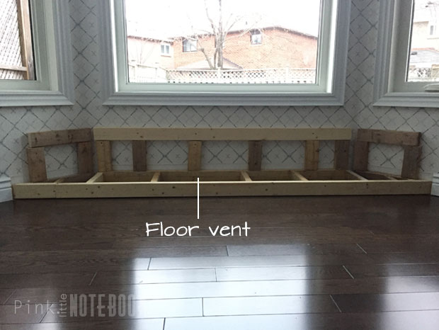 ... we were able to move it right in front of the bench on the floor (which you wonu0027t see until the next post since it was an after thought!) & DIY Built-in Window Bench (part 1) - Pink Little NotebookPink Little ...